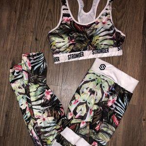 Stronger brand sports bra and leggings.